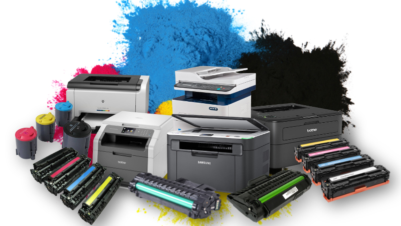 printers and toners blank background
